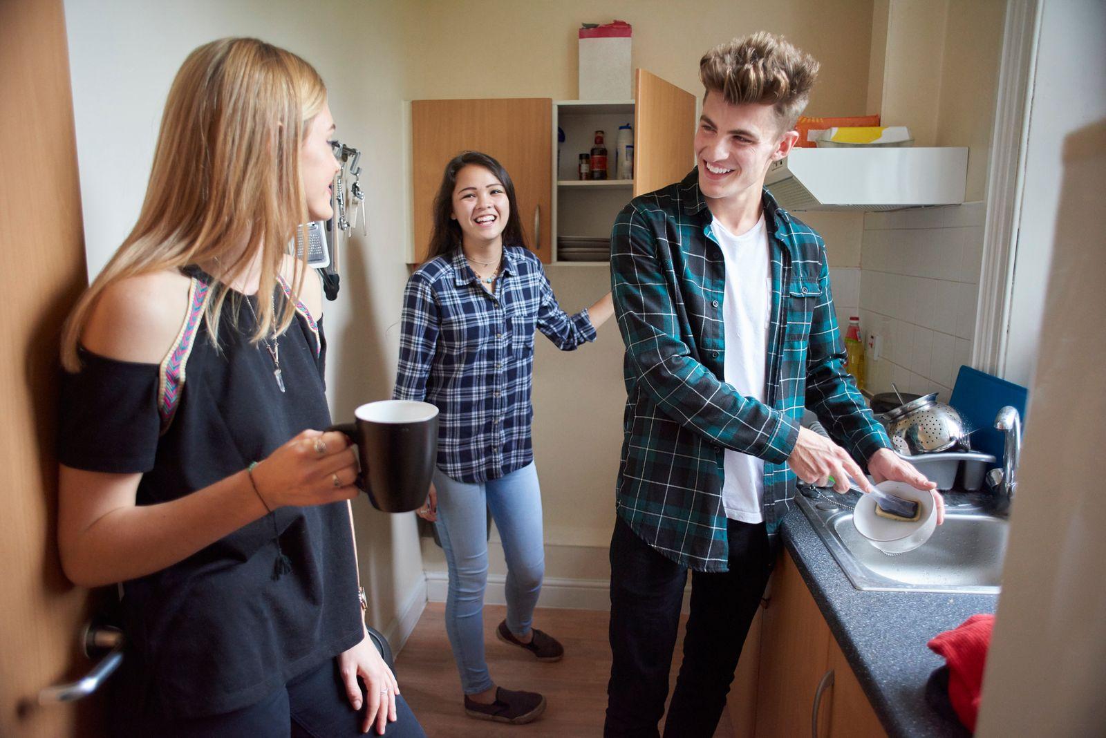 faire la vaisselle dans la cuisine avec colocataires