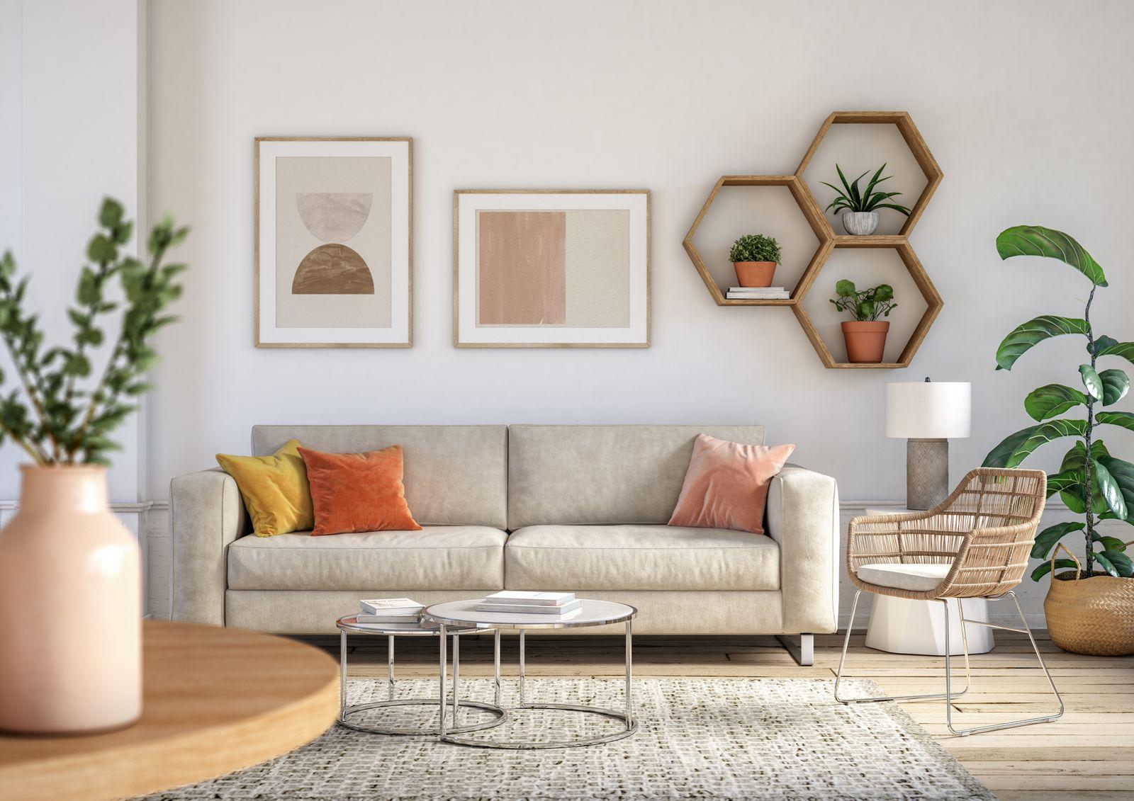 salon décoration couleurs pâles et plantes