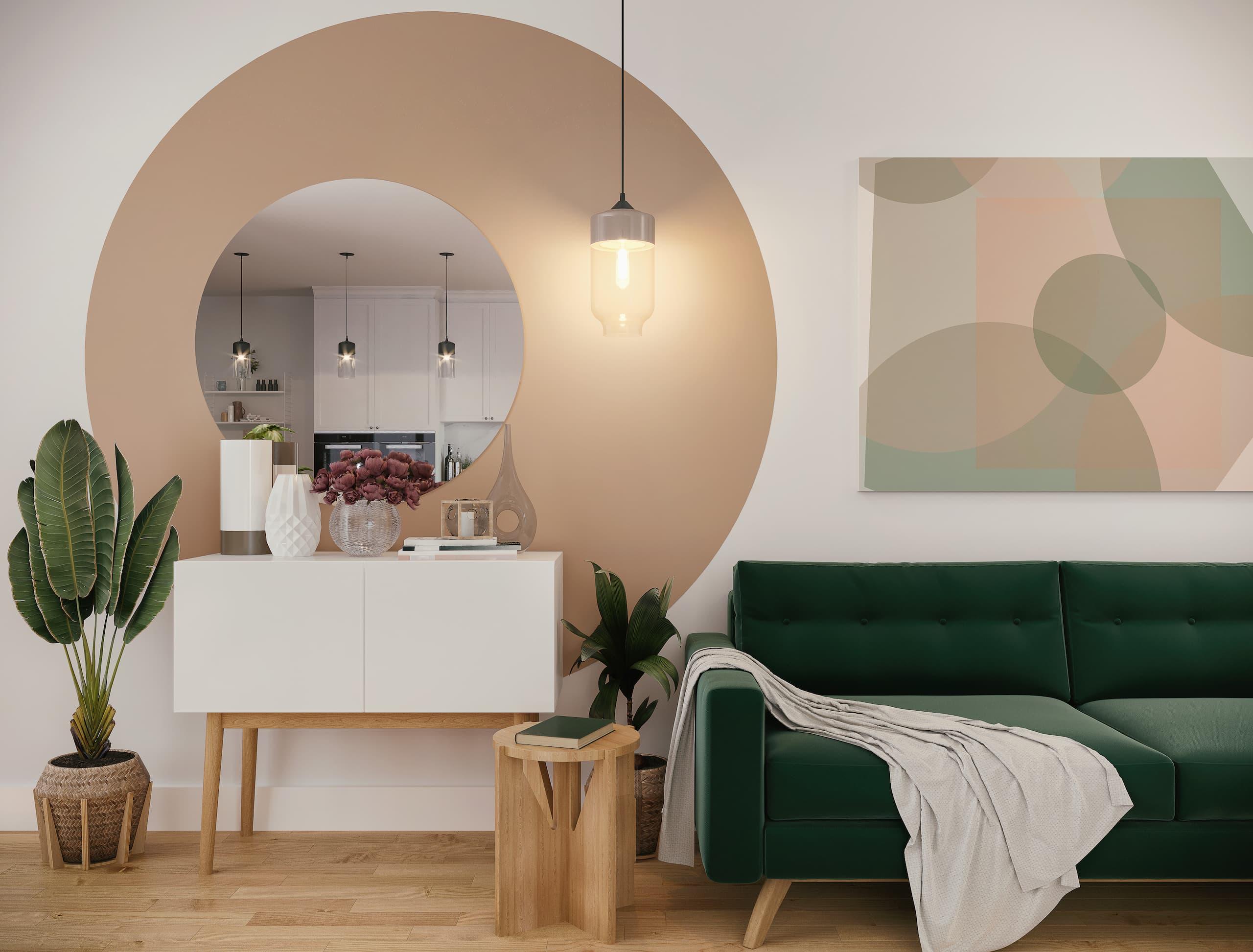 Salon contemporain avec un mur d'accent